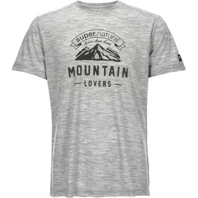 super.natural M's Graphic Tee Ash Grey Melange/Mountain Lovers Logo
